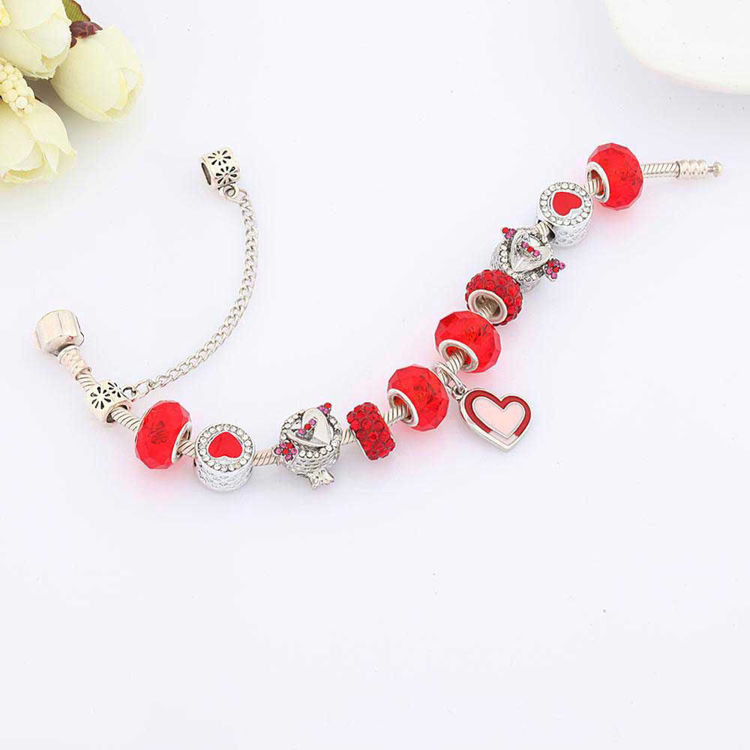 Picture of Romantic Red Cupid's Arrow Heart Charm Bracelet