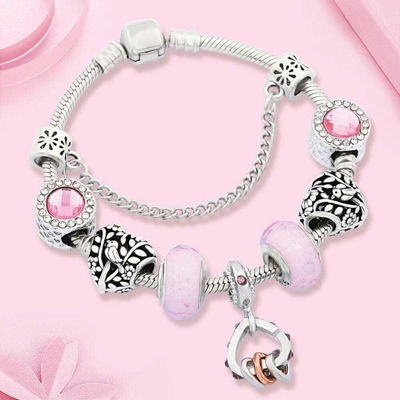 Picture of Lovely Pink Murano Heart Crystal Charm Bracelet