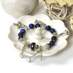 Picture of Mulany MB8058 Blue Tiger Eye With Silver Charm Healing Bracelet