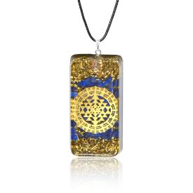 Picture of Mulany MN116 Aquamarine & Gold Foil EMF Protection Orgone Pendant