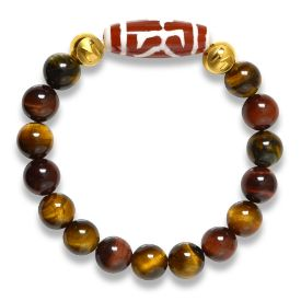 Picture of Mulany MB8025 Tiger Eye Stone With Dzi Charm Healing Bracelet