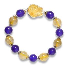 Picture of Mulany MB8026 Amethyst Stone With Gold Rutilated Quartz Healing Bracelet
