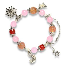Picture of Mulany MB8027 Natural Stones With Silver Charm Healing Bracelet