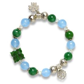 Picture of Mulany MB8040 Green Jade With Silver Charm Healing Bracelet