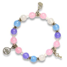 Picture of Mulany MB8041 Multi-Color Stone With Silver Charm Healing Bracelet