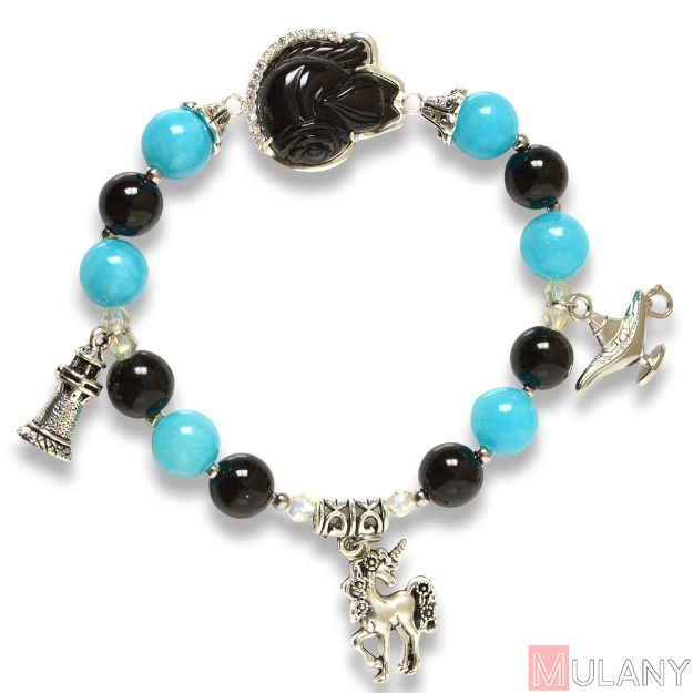 Picture of Mulany MB8045 Obsidian Jade With Fox Charm Healing Bracelet