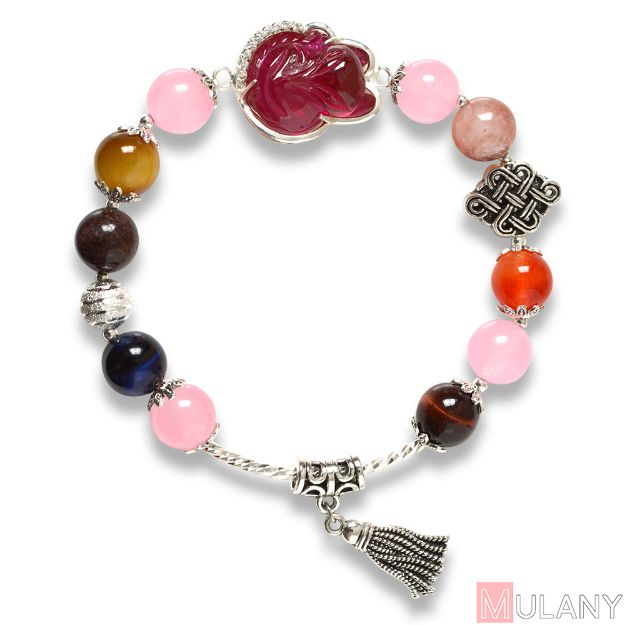 Picture of Mulany MB8047 Multicolor Stone With Fox Charm Healing Bracelet