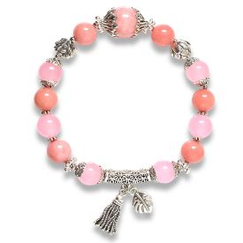 Picture of Mulany MB8048 Chalcedony Stone With Silver Charm Healing Bracelet