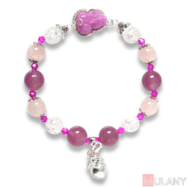 Picture of Mulany MB8049 Strawberry Quartz With Ruby Pixiu Charm Healing Bracelet