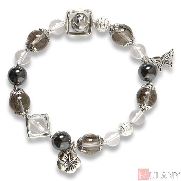 Picture of Mulany MB8054 Black Rutilated Quartz With Silver Charm Healing Bracelet