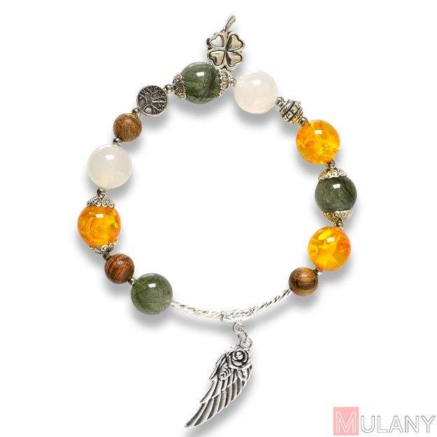 Picture of Mulany MB8064 Rutilated Quartz and Amber Healing Bracelet