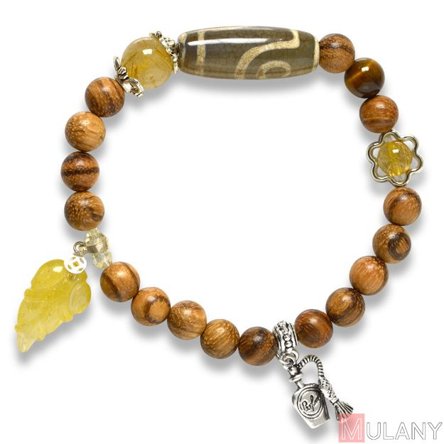 Picture of Mulany MB9012 Agarwood With Dzi Charm Healing Bracelet
