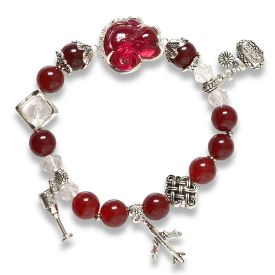 Picture of Mulany MB8062 Red Garnet With Fox Charm Healing Braclet