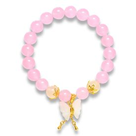 Picture of Mulany MB8003 Rose Quartz With Butterfly Charm Healing Bracelet