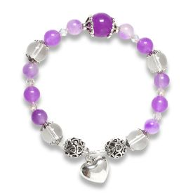 Picture of Mulany MB8015 Amethyst With Heart Charm Healing Bracelet
