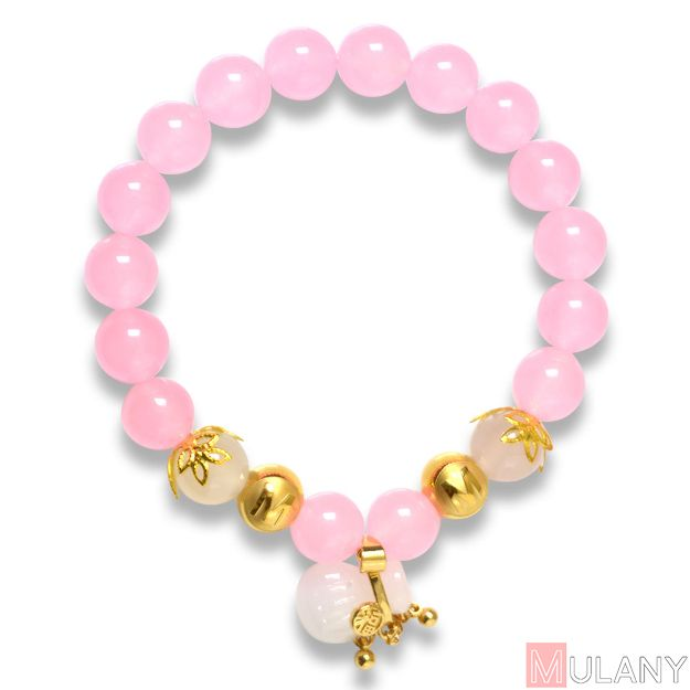 Picture of Mulany MB8016 Rose Quartz With Jade Blessing Bag Charm Healing Bracelet