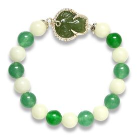 Picture of Mulany MB8018 Jade Stone With Fox Charm Healing Bracelet