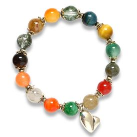 Picture of Mulany MB8019 Natural Stone 7 Chakras With Heart Charm Healing Bracelets