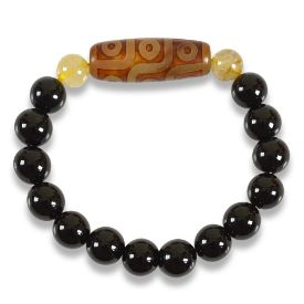 Picture of Mulany MB8029 Obsidian Stone With Dzi Charm Healing Bracelet