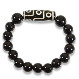 Picture of Mulany MB8030 Obsidian Stone With Dzi Charm Healing Bracelet