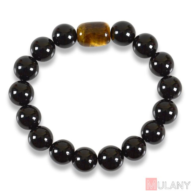 Picture of Mulany MB8035 Obsidian Stone With Tiger Eye Charm Healing Bracelet