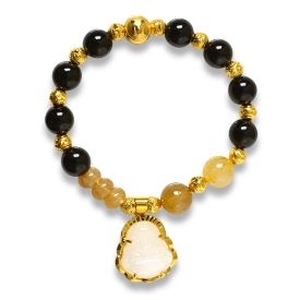Picture of Mulany MB8053 Obsidian With Jade Buddha Charm Healing Bracelet