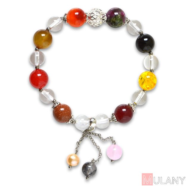 Picture of Mulany MB8056 Multicolor Stone With Beads Charm Healing Bracelet
