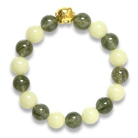 Picture of Mulany MB8069 Glow In Dark Jade and Rutilated Quartz Healing Bracelet